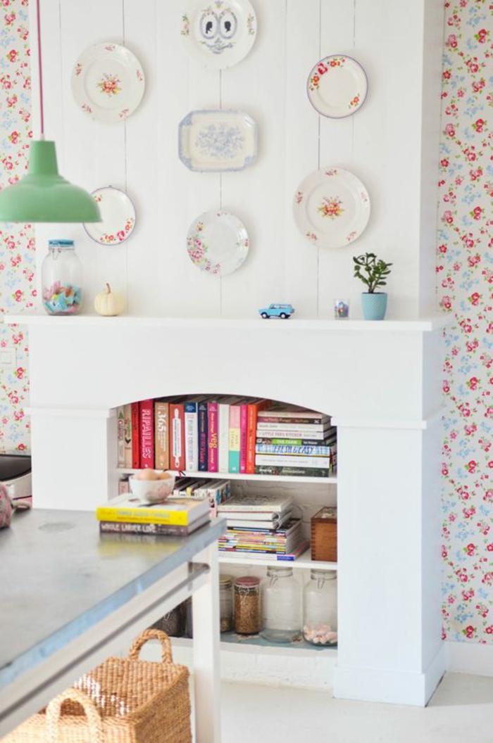 vintage tapete küche floral offene regale kücheninsel