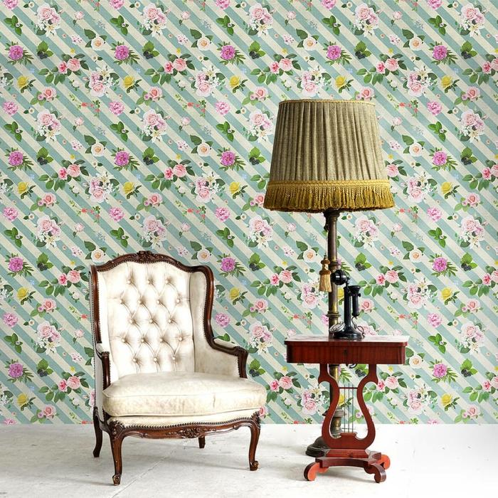 vintage tapete oakdene designs streifen blumenmuster