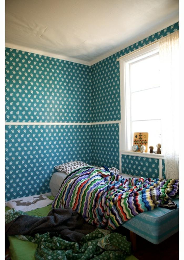 vintage tapete schlafzimmer gestalten blau grün