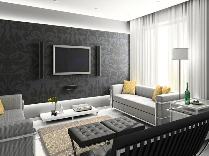 vintage tapete wohnzimmer elegantes muster männlicher look