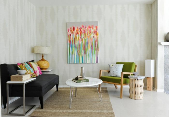 vintage tapete wohnzimmer farbige akzente coole leuchten