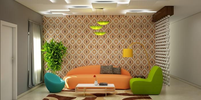 vintage tapete wohnzimmer oranges sofa farbige sessel pflanze