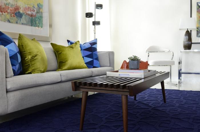 vintage teppiche blau wohnzimmer frische deokissen