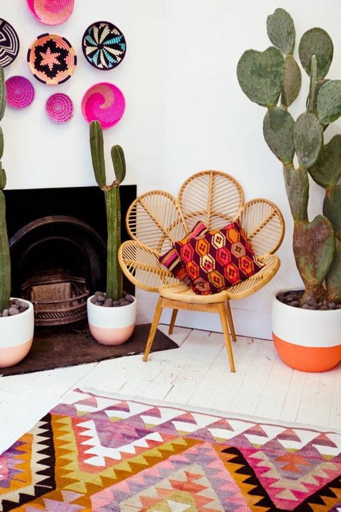 vintage teppiche farbiges teppichmuster kakteen ausgefallener sessel