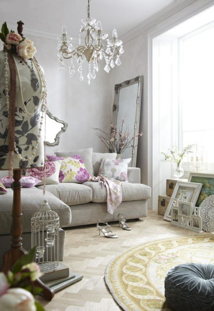 vintage teppiche rund kronleuchter florale elemente