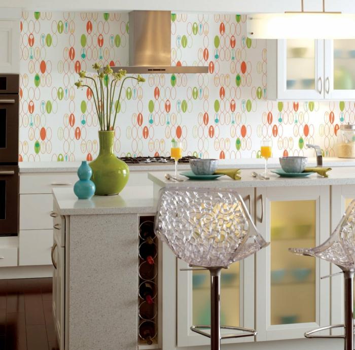 vintage tapete küche farbiges muster blumen