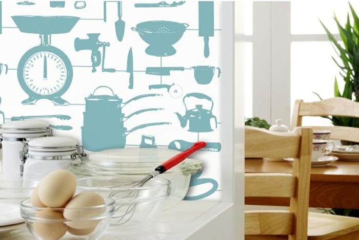 vintage tapete küche wandgestaltung ideen