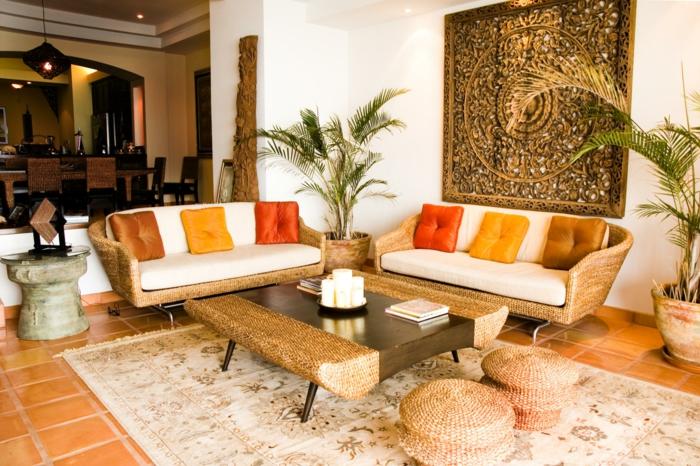vintage teppiche wohnzimmer gestalten farbige dekokissen