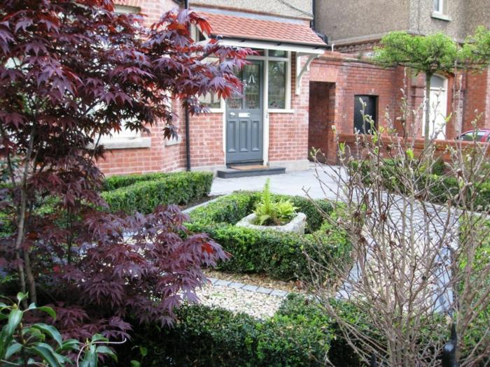 vorgarten gestalten stilvoll hecken boden verlegen gartenpflanzen