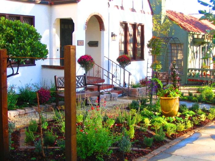 vorgarten pflanzen garten gestalten ideen frisch eingangstreppen sitzbank