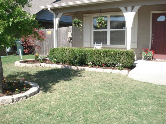 vorgarten pflanzen hecke gestalten blumen