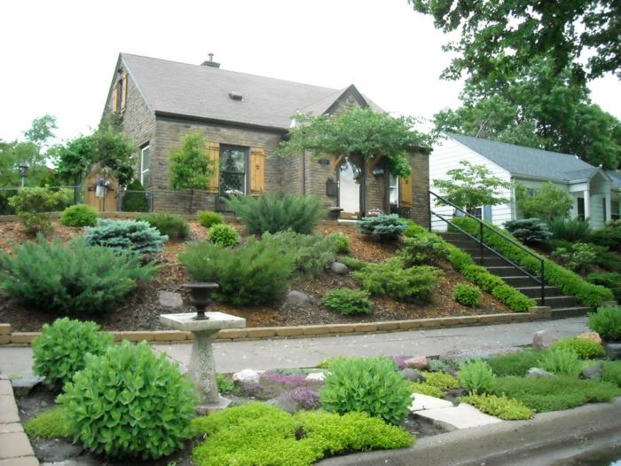 vorgarten mit pflanzen gestalten 40 ideen wie sie ein. Black Bedroom Furniture Sets. Home Design Ideas