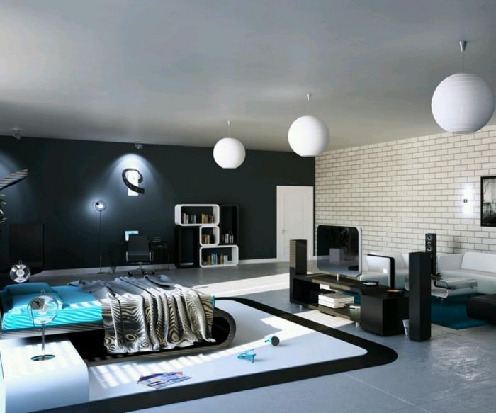 wandfarben ideen jugendzimmer schwarze akzentwand weiße ziegelwand teppich offener wohnplan