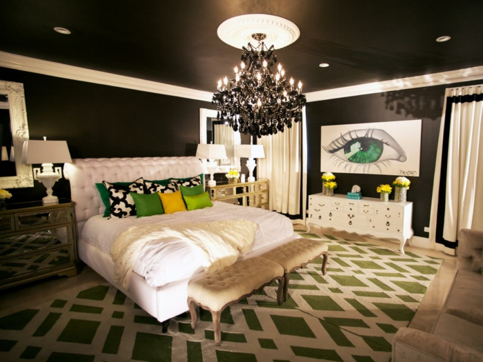 wandfarben ideen schwarz schlafzimmer weißes bett grüne elemente