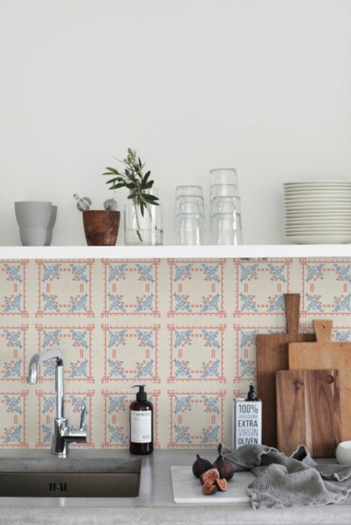 wandgestaltung küche frische wandfliesen offenes wandregal küche gestalten