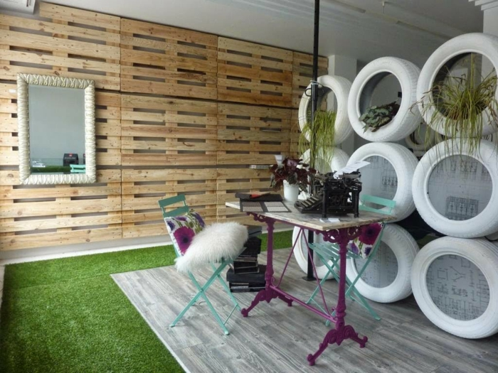 wandgestaltung upcycling möbel regale europaletten diy ideen