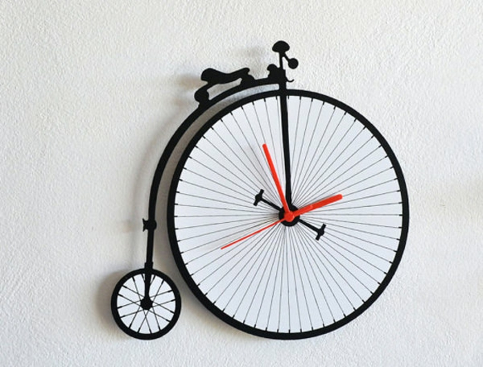 wanduhr ideen retro fahrrad