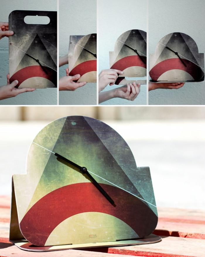 wanduhr design vintage geometrische figuren
