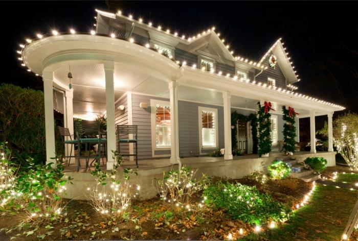 weihnachtsdeko für draussen vorgarten dekorieren lichterketten
