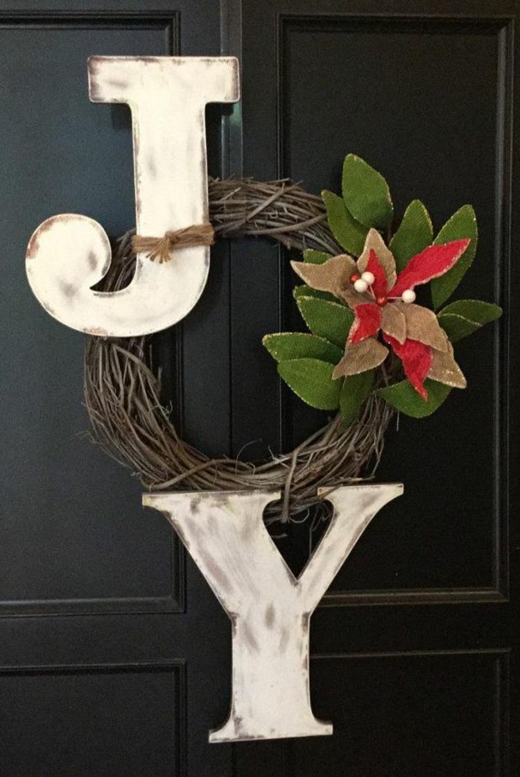 weihnachtskranz ideen weihnachtsdeko selber basteln türkranz basteln