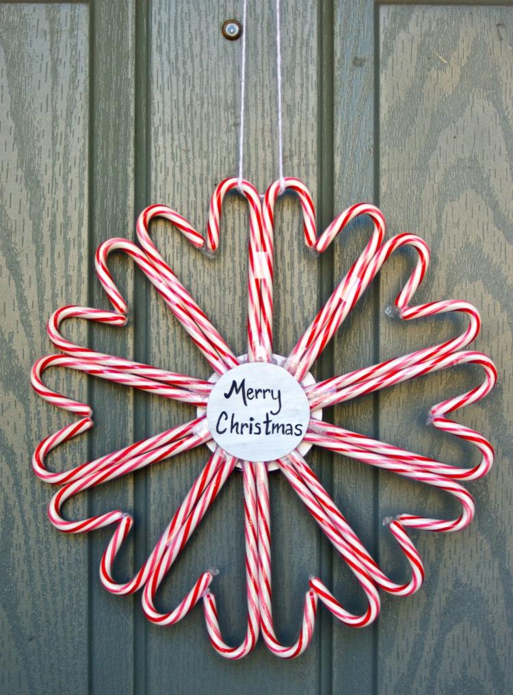 weihnachtskranz selber basteln zuckerstangen türkranz weihnachten