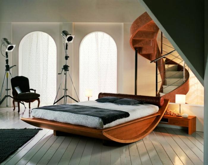 wohnideen schlafzimmer ausgefallenes bett innentreppe