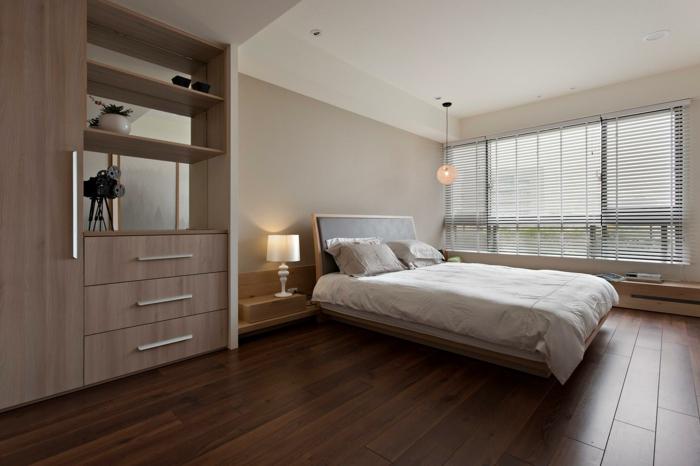 wohnideen schlafzimmer bett bettkopfteil tischleuchte hängeleuchte