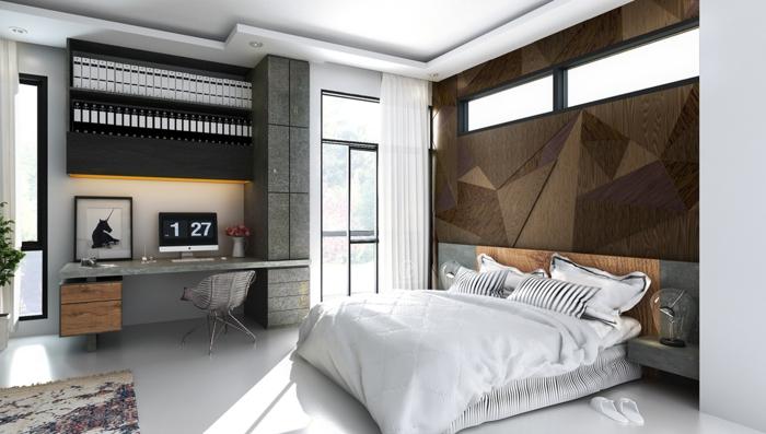 Wohnideen Schlafzimmer Coole Akzentwand Schreibtisch