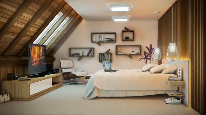 wohnideen schlafzimmer dachschräge coole wandregale pendelleuchten