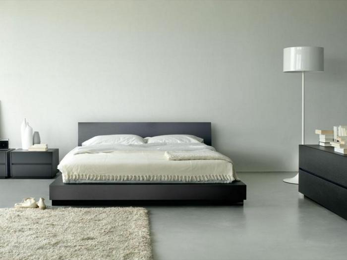 wohnideen schlafzimmer graue schlafzimmermöbel teppich stehlampe