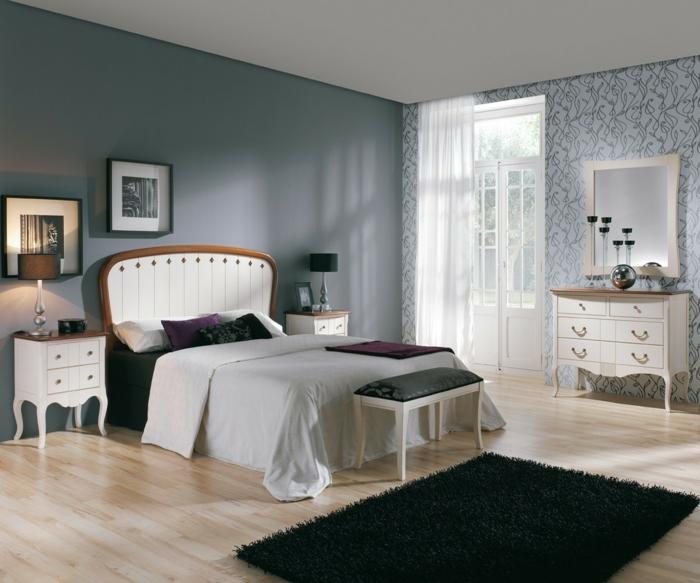 wohnideen schlafzimmer graue wände schwarzer teppich wandtapete