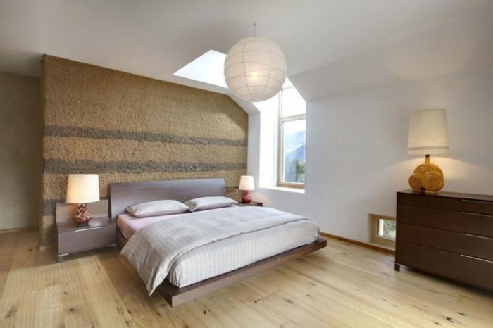 wohnideen schlafzimmer schöne akzentwand weiße wände