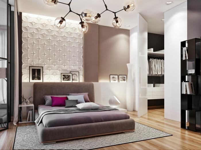 wohnideen schlafzimmer schöne wandgestaltung leuchter streifenteppich