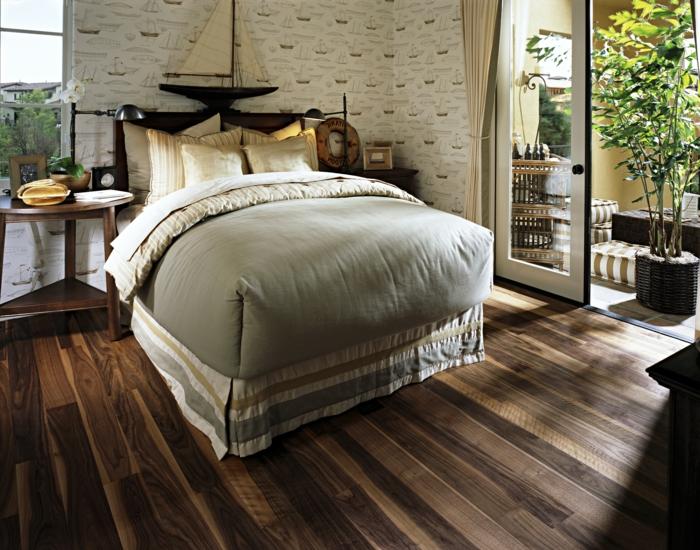 wohnideen schlafzimmer schlafzimmerwand akzentwand runder beistelltisch