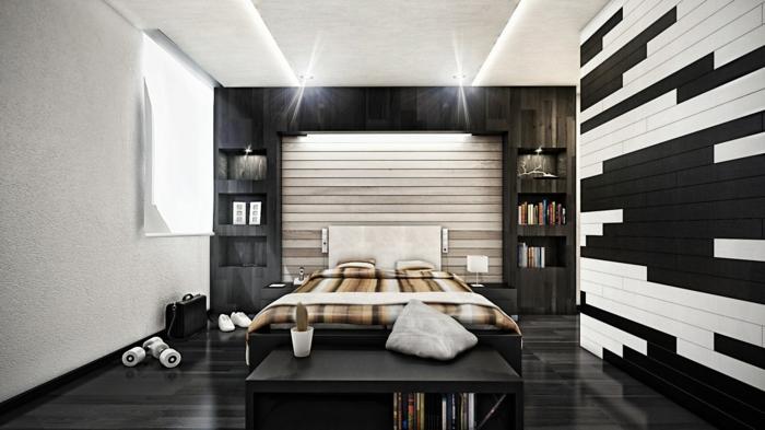 wohnideen schlafzimmer schwarzer boden schöne wandgestaltung
