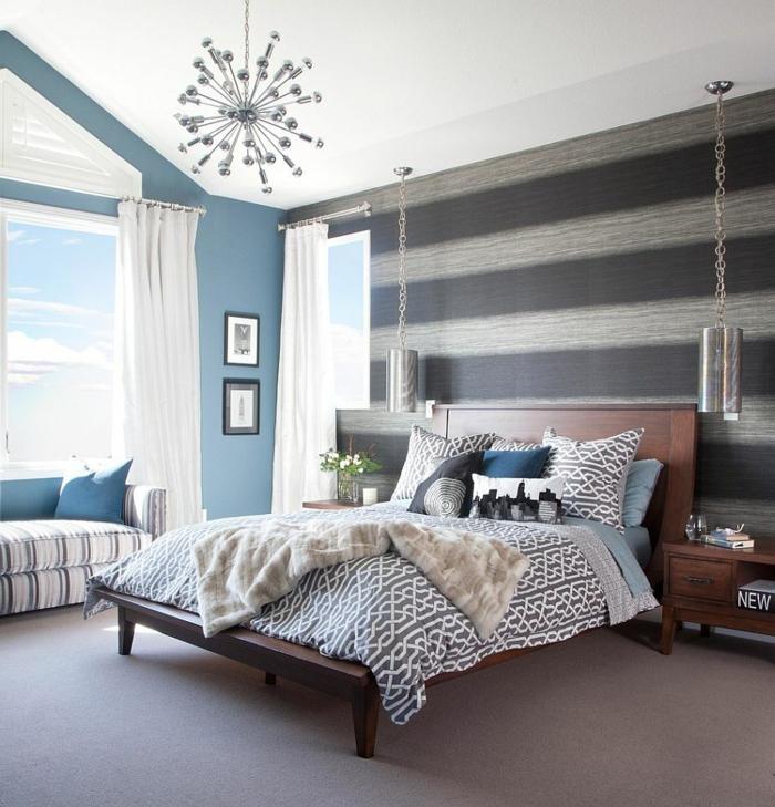 wohnideen schlafzimmer streifen hängeleuchten schöne muster