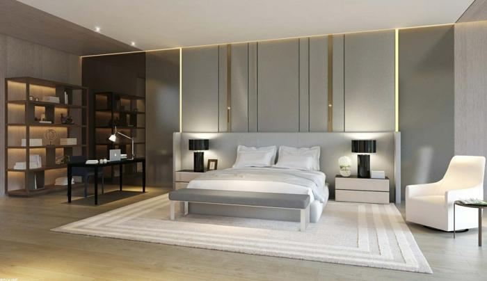 wohnideen schlafzimmer weißer teppich hellgraue wandfarbe led leuchten