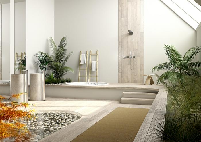yin yang bedeutung ausgewogenheit badeinrichtung palmen teich