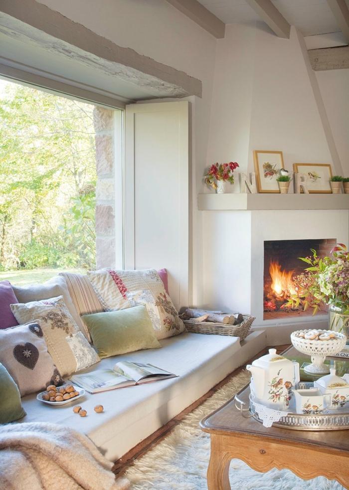 zimmer einrichten ideen gemütliches wohnzimmer kamin dekokissen