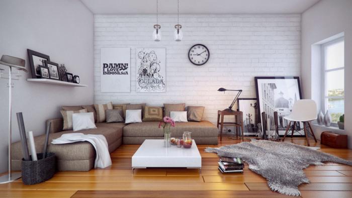 zimmer-einrichten-ideen-wohnzimmer-fellteppich-ecksofa-wanduhr