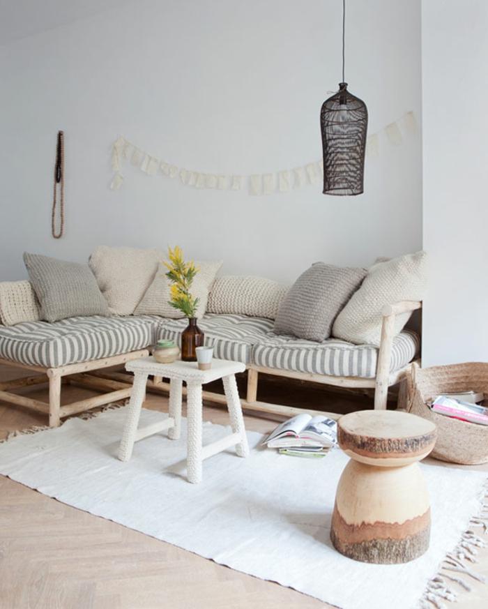 zimmer einrichten ideen wohnzimmergestaltung ideen weißer teppich ecksofa beistelltisch