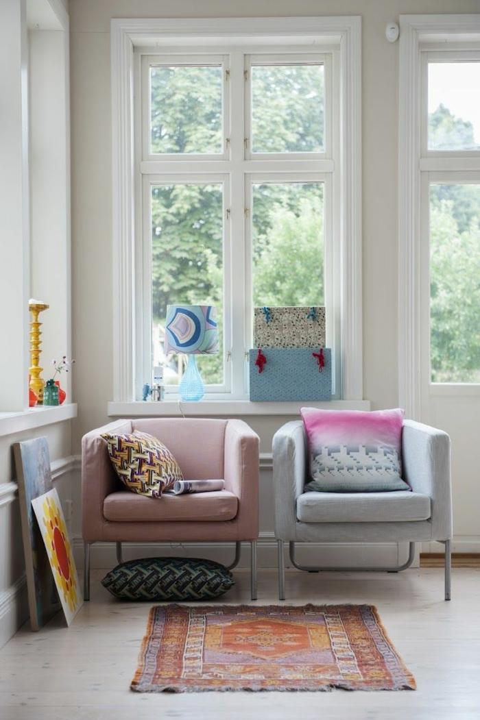 zimmereinrichtung winterlich teppich sessel pastellnuancen