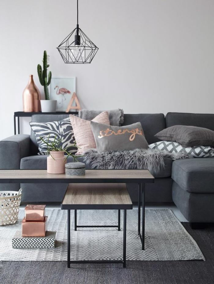 zimmer einrichten ideen wohnzimmer graues innendesign teppich dekokissen