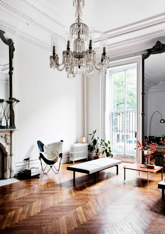 zimmer einrichten ideen wohnzimmer kronleuchter wandspiegel kamin pflanzen