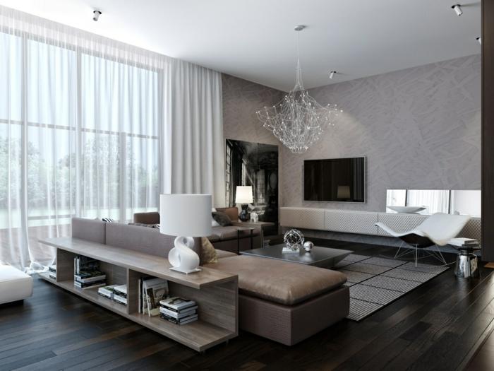 zimmereinrichtung wohnzimmer modern gemütlich schöner kronleuchter