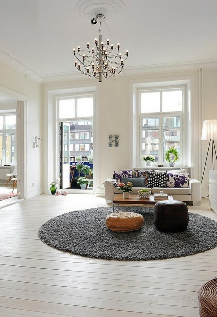 zimmereinrichtung wohnzimmer runder teppich kronleichter