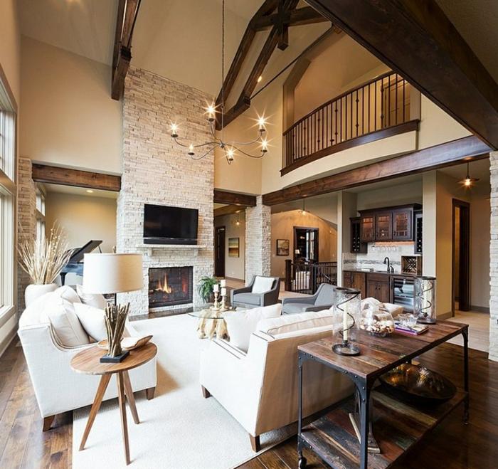 zimmer einrichten ideen wohnzimmer steinwand kamin gemütlich rustikale elemente