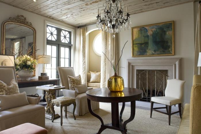 zimmereinrichtung wohnzimmer wandspiegel blumen lichteffekte
