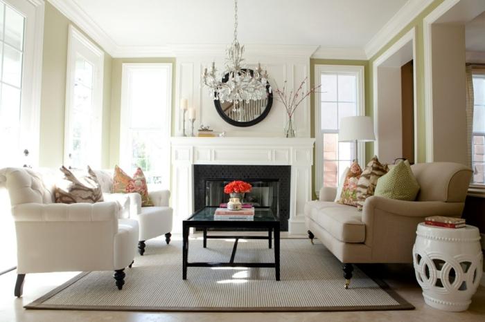 zimmereinrichtung wohnzimmer wandspiegel kronleuchter kamin gemütlich modern