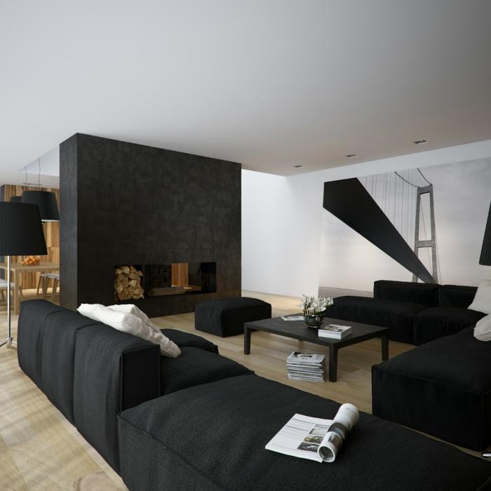 zimmereinrichtung wohnzimmergestaltung ideen schwarze möbel holzakzente